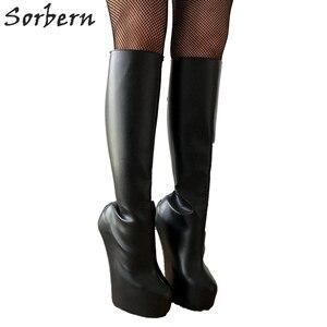 Image 3 - Sorbern lockable vermelho voltar aberto zip joelho botas altas senhora pesado hoof sole heelless travamento joelho hi fetish calcanhar botas feminino unisex