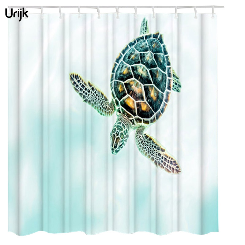 Urijk 1PC 3D Shower Curtain with 12pcs Hooks Sea Turtles Printed Curtains for Bathroom Waterproof Polyester Top Quality Cortina