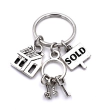 Real Estate Agent Keys Keychain House Sold Charms Realtor Jewelry Keyring Gifts For Women Men
