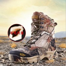 47 Large Size Bionic Camo Waterproof Thermal Snow Boots Winter Outdoor Hunting Climbing Hiking