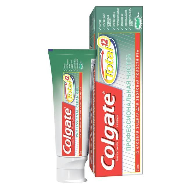 COLGATE TOTAL 12 Профессиональная чистка, гель комплексная зубная паста, 75 мл