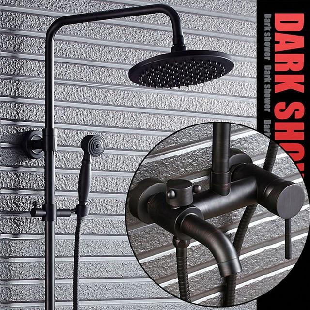 Три функции Роскошные Ванная комната Душ Системы, приходя с ручной душ, дождь верхний душ, классический черный, твердая латунь