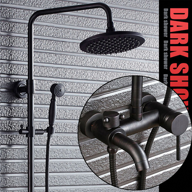 Three Functions Luxury Bathroom Shower System, Coming with Hand Held Shower, Rain Overhead Shower, Classic Black,  Solid Brass