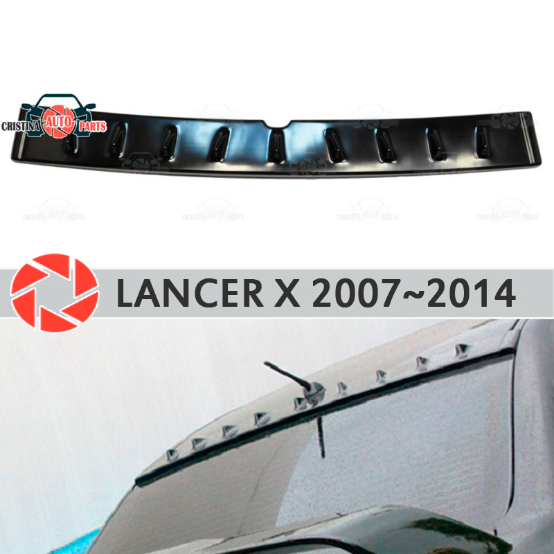 Spoiler on rear window for Mitsubishi Lancer X 2007-2014 canopy plate lip spoiler plastic ABS guard sill accessories car styling xy superheroes baby on board car styling reflective car stickers decals baby in car window rear windshield cute car sticker