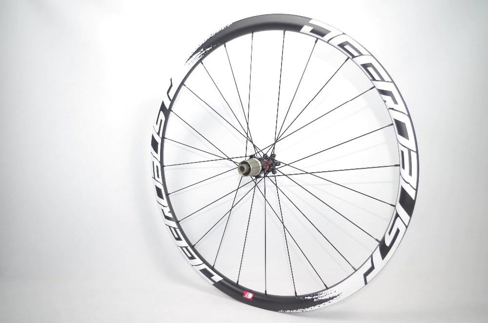 1099g FLT 700C 30mm Deep 25mm Wide Tubular Road Disc Brake Cyclocross Bicycle Carbon Wheels CX Bike Wheel set 24 28 Holes
