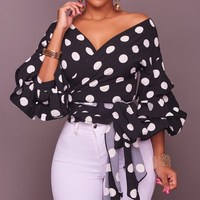 2017 Autumn Women Casual Polka Dot Blouses Tops Sexy Ladies Deep V Neck Lantern Sleeve Bow