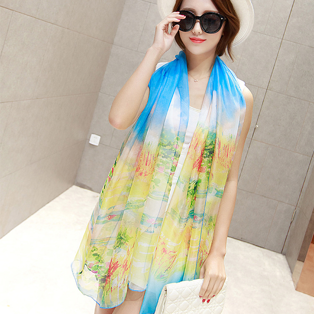 Elegant Soft Emulation Silk Flower Print Large Stole Women   Scarf     Wrap   Shawl Gift