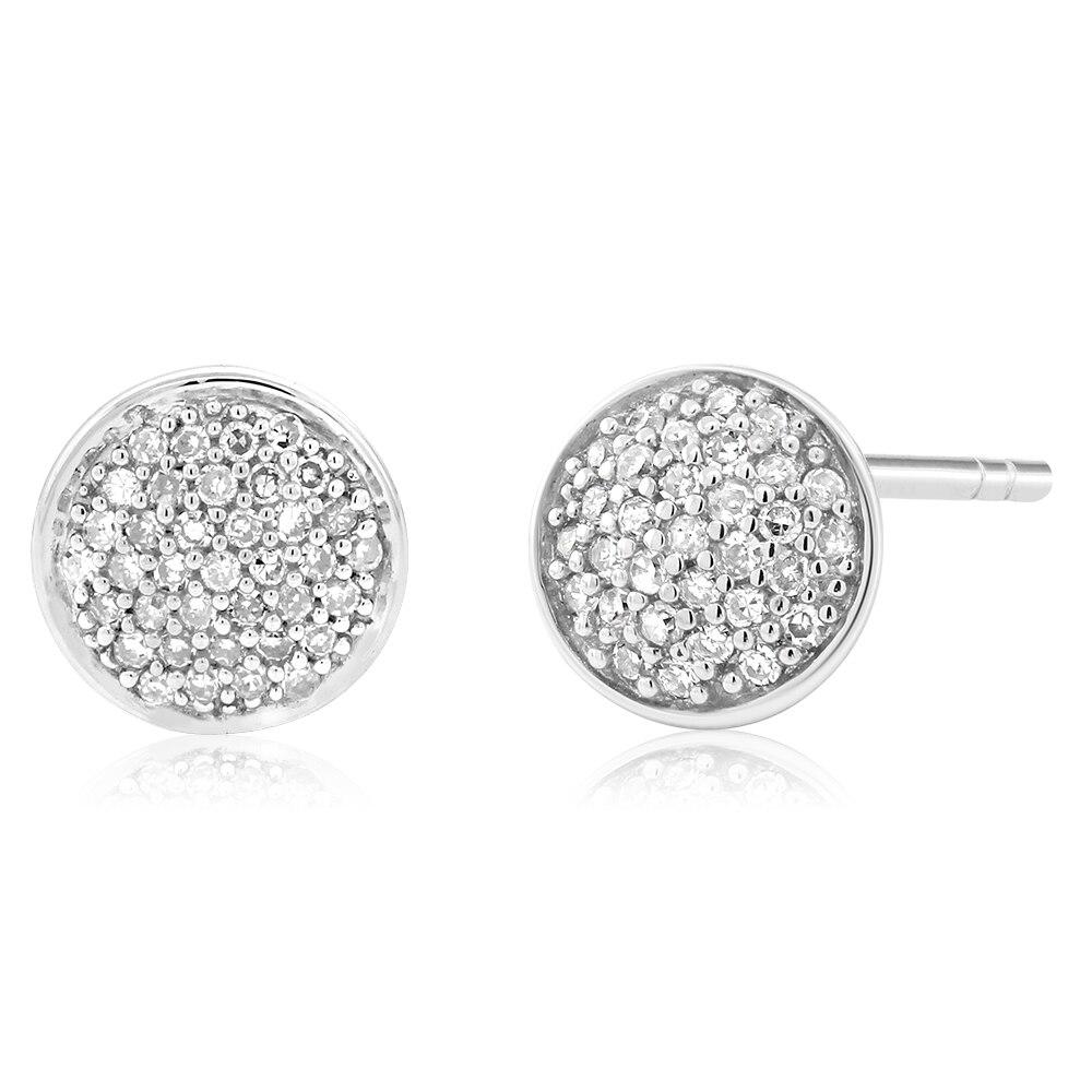 Gemstoneking 10k White Gold Wedding Jewelry Round Single Cut Natural White  Diamond Circle Stud Earrings For Women