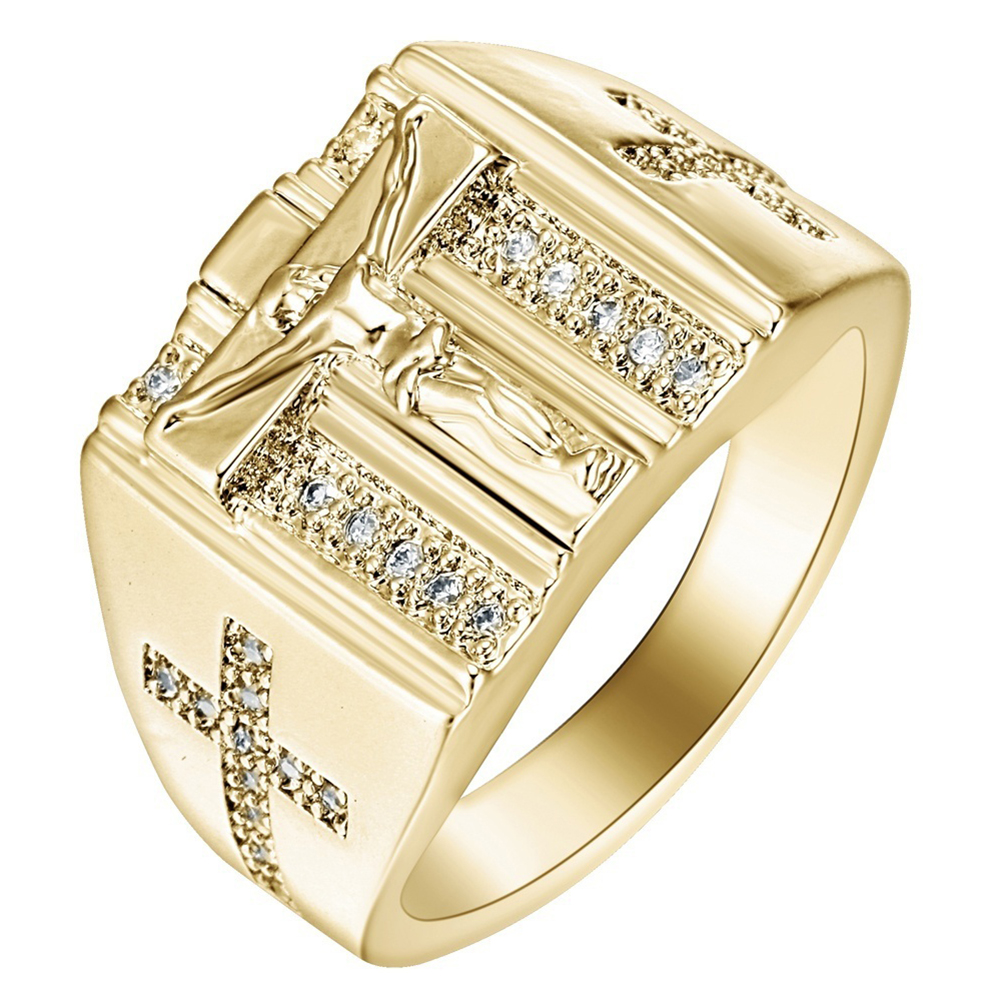 Fashion Women Cubic Zirconia Cross Golden Plated Jewelry Finger Ring Prom Gift