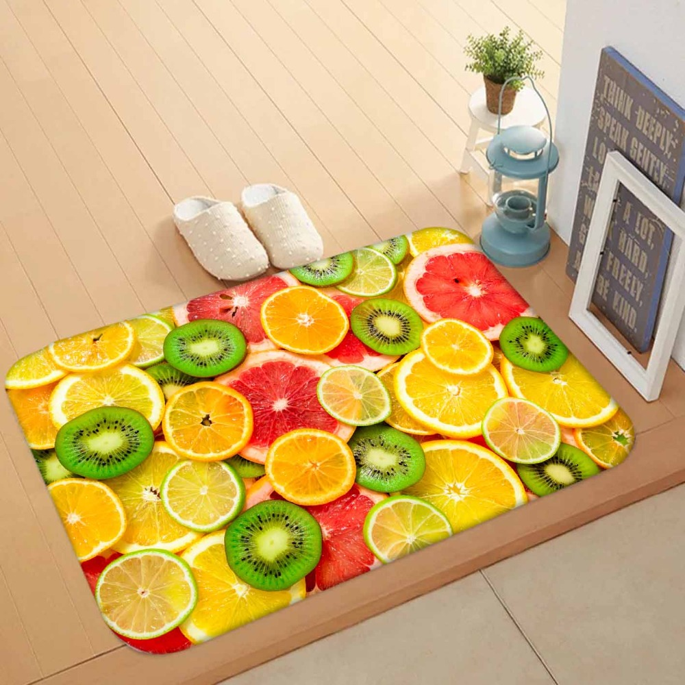 Else Green Red Yellow Slice Of Lemon Orange Fruits 3d Pattern Print Anti Slip Washable Doormat Home Decor Entryway Kitchen Mat
