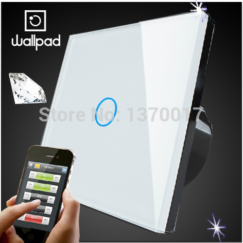 EU 1 Gang Wallpad Wireless Remote control wall touch light switch,Crystal Glass White Waterproof Wifi Light Switch,Free Shipping 2017 smart home crystal glass panel wall switch wireless remote light switch us 1 gang wall light touch switch with controller