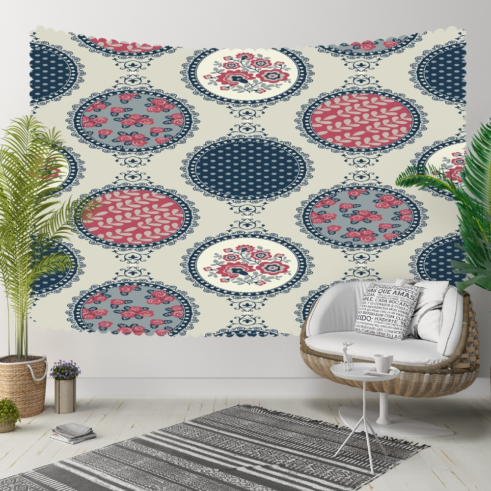 Else Gray Floor Red Blue Round Geometric Flowers 3D Print Decorative Hippi Bohemian Wall Hanging Landscape Tapestry Wall Art