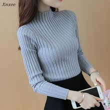цена на 2018 Autumn and winter New Korean Half turtleneck Sweater jacket Womens Long Sleeve Set head All-match knitted Sweater woman