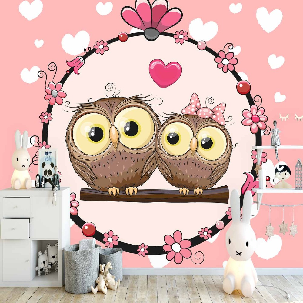 Else Pink Floor White Heart Love Cute Owls Heart 3d Print Cartoon Cleanable Fabric Mural Kids