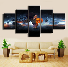 5 Panel Canvas Printed Minecraft Battlefield Painting Wall Art Home Framework Decor Artwork Picture Decorative Game Poster