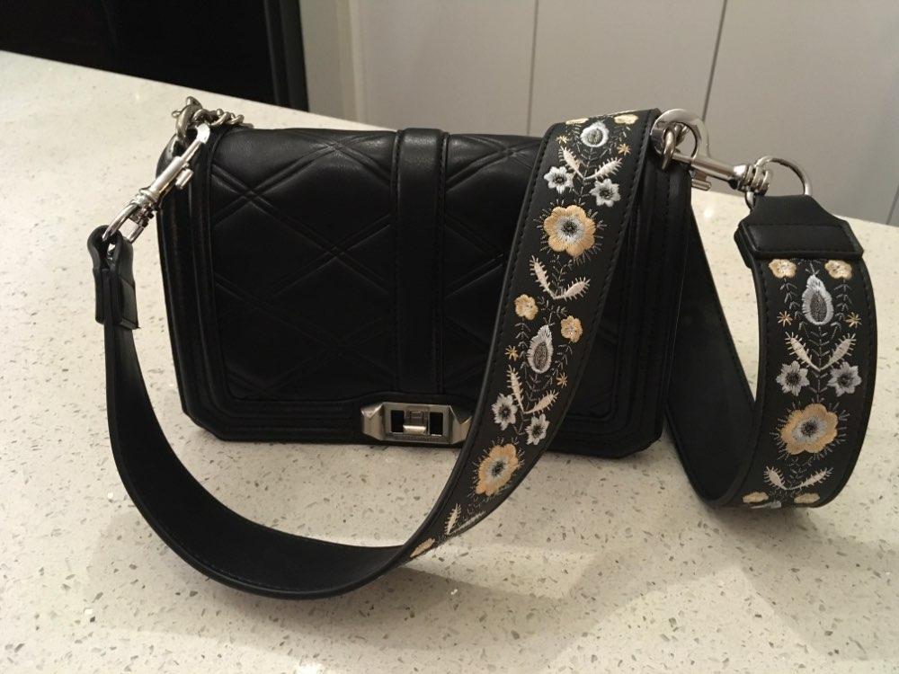 Lederen geborduurde tas riem vrouwen tas accessoires handtas riem Lady Mooie tas riem Hoge kwaliteit riemen voor tassen photo review
