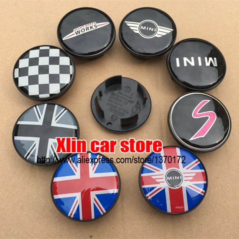 20pcs/lot 54 mm Many MINI Car Emblem logo Sticker Badge Wheel Center Hub Caps For Mini Cooper WORKS S car styling Accessories