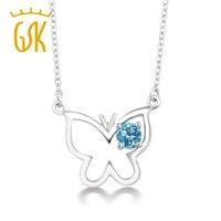 GemStoneKing 925 Sterling Silver Gemstone Fine Jewelry 0.33 Ct Naturale Topazio Blu Del Pendente Della Farfalla Della Collana Per Le Donne