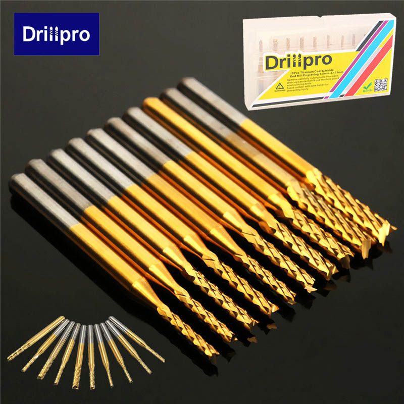 10Pcs Titanium Coat Carbide 1.5mm-3.175mm End Milling Engraving Bits CNC PCB Router Bits Drill Rotary Cutters