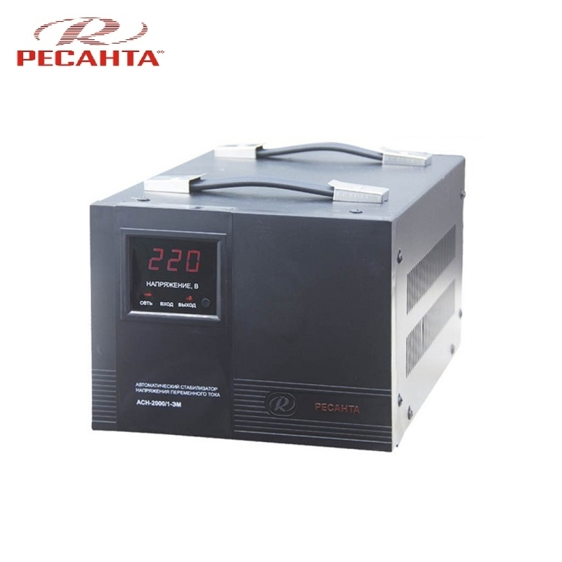 Single phase voltage stabilizer RESANTA ASN 2000/1 EM Voltage regulator Monophase Mains stabilizer Surge protect Power stab single phase voltage stabilizer resanta asn 500 1 em voltage regulator monophase mains stabilizer surge protect power stab