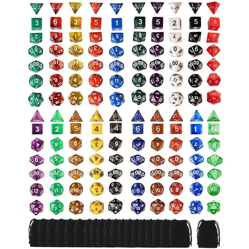 140pcs Polyhedral Dice 20 Sets For Dungeons And Dragons DND RPG MTG  Board Games Dice 20 Set 4D 6D 8D 10D 12D 20D +20 Pouch Bags