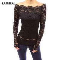 LASPERAL Sexy Off Shoulder Hollow Out Lace T Shirts Women Slash Neck Long Sleeve Tee Shirts