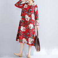Newest Autumn Dress 2017 Women Vintage Floral Print Dresses Ladies Long Sleeve O Neck Pockets Split