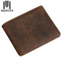 MISFITS Vintage Handmade Men Wallets Crazy Horse Leather Multi Functional Genuine Leather Wallet For Men Horizontal