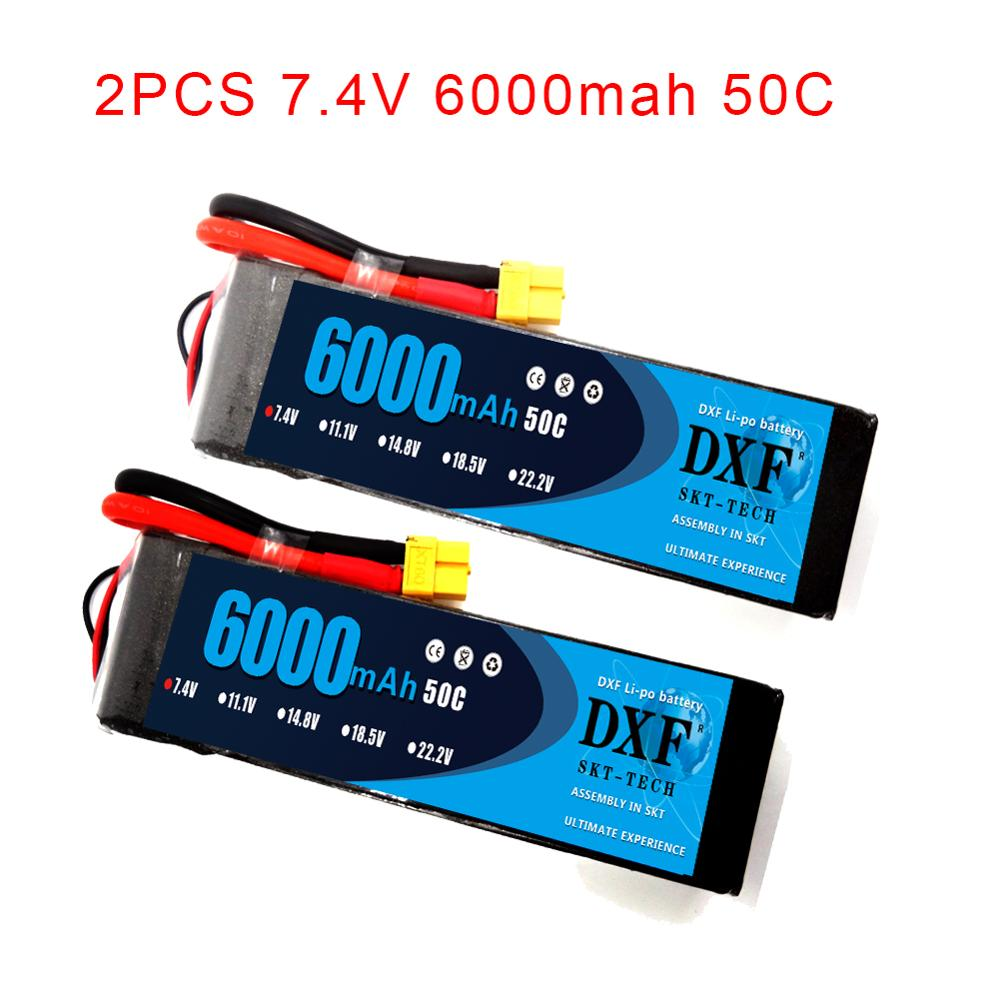 2PCS DXF 2S 3S 4S <font><b>6S</b></font> 7.4V 11.1V 14.8V 22.2V <font><b>6000mAh</b></font> 50C <font><b>Lipo</b></font> Battery rex-450 Fixed-wing Helicopter Quadcopter RC Car Boat image