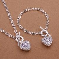 S373 Sterling 925 Sterling Silver Jewelry Set Fashion Zircon Charm Heart Pendant Necklace Bracelet Jewelry Set
