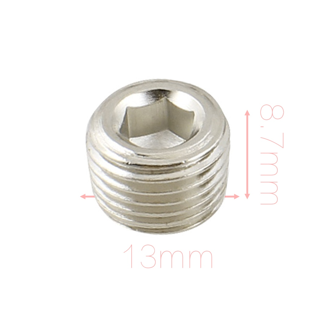 UXCELL Air Pipe Fittings 1/4 Pt Thread Hex Socket Metal Plugs Caps Silver Tone 5 Pcs 6 pcs air pipe fittings 1 4pt male thread hex socket brass plugs caps