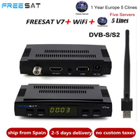 Freesat V7 HD CCcam Satellite Receiver +1 Year Europe Spain CCam 7 Cline Server+1 USB WIFI DVB S2 Receptor Satellite HD Receiver