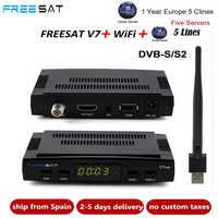 Récepteur Satellite Freesat V7 HD CCcam + 1 an Europe espagne serveur CCam 5 Cline + 1 récepteur USB WIFI DVB-S2 récepteur Satellite HD