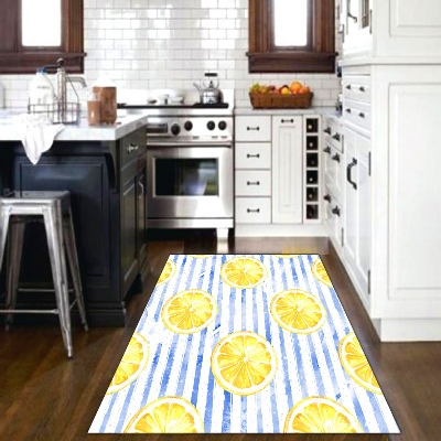 Else Blue Lines Yellow Lemons Fruits Vegetable 3d Print Non Slip Microfiber Kitchen Modern Decorative Washable Area Rug Mat