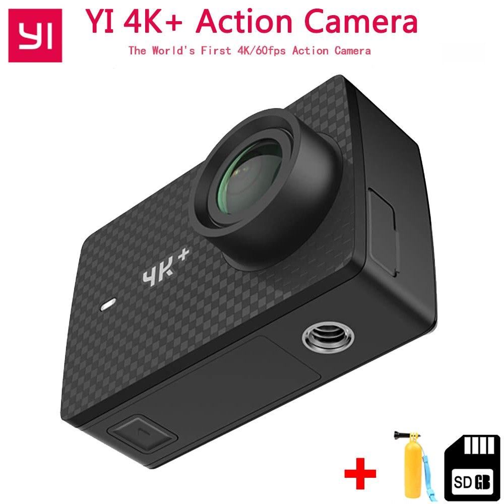 Xiaomi YI 4 K + (Plus) caméra d'action avec carte SD 16g premier 4 K/60fps Amba H2 SOC Cortex-A53 IMX377 12MP CMOS 2.2
