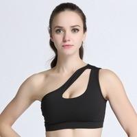 One Shoulder Fitness Gym Yoga Bras Tank Top Bra Push up Padded Bra