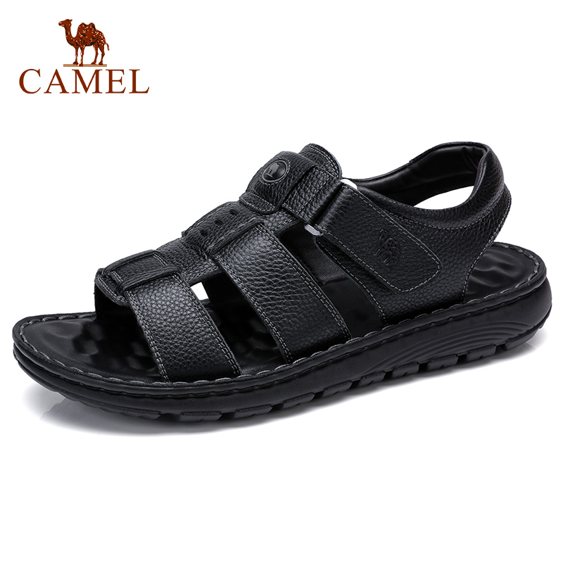 CAMEL New Business Casual Men's Sandals Comfortable Genuine Leather Shoes Soft Elastic Textured Cowhide Men Sandal