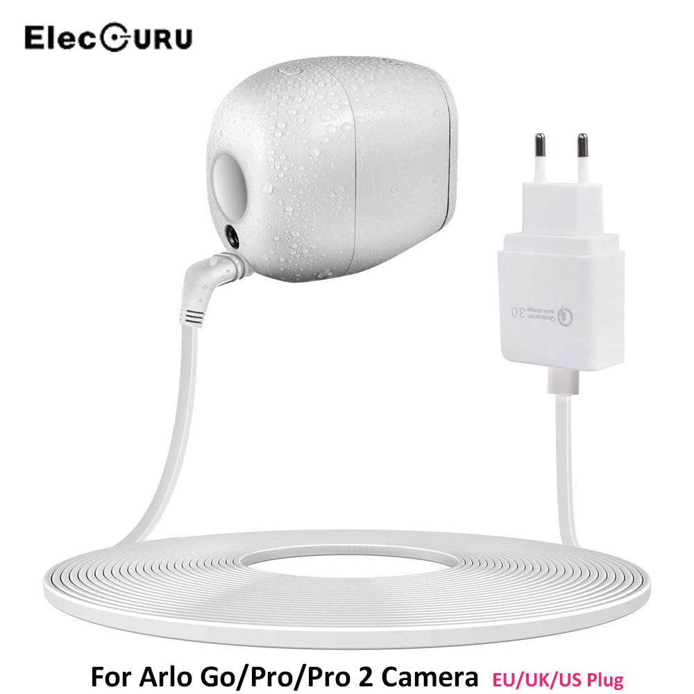 Home CCTV Camera Battery <font><b>Charger</b></font> For Arlo Go Arlo Pro Arlo Pro 2 Camera With EU/UK/US Plug Power Adapter + 19.6ft/6M Cable <font><b>White</b></font>