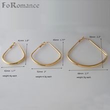 "MIN ORDER 10$ CAN MIX DESIGN/ PLAIN BAND YELLOW GOLD COLOR TRIANGLE SHAPE THREE SIZE HOOP TALL 1.6"" 1.77"" 2.2"" EARRING(China)"