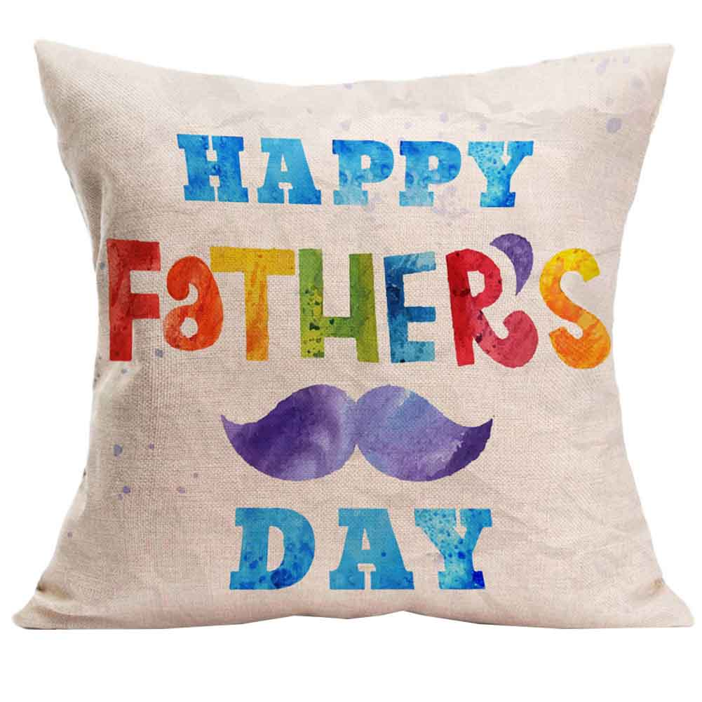 Happy Father Day Letter Printed Cushion Cover Deep Green Cotton Linen Sofa Throw Waist Pillowcase Square Festival Gift