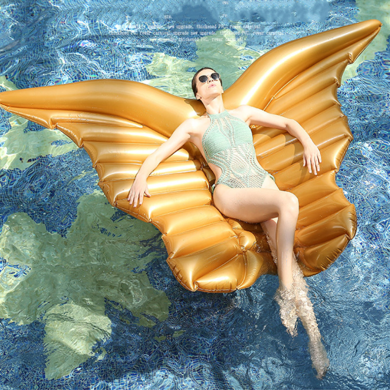 240cm giant angel wings inflatable pool float ball golden white air mattress lazy water party butterfly swimming ring
