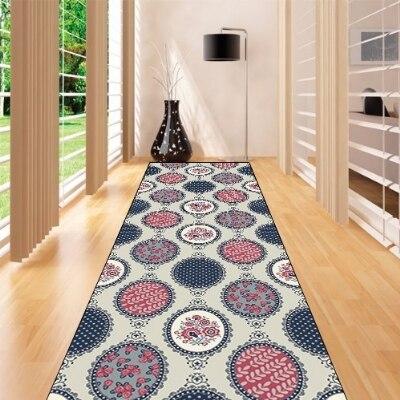 Else Gray Red Round Ethnic Geometric Floral 3d Print Non Slip Microfiber Washable Long Runner Mat Floor Mat Rugs Hallway Carpets