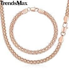 La joyería de trendsmax fijó la pulsera del collar de los hombres de las mujeres 585 Rose gold filled tejer Bismark enlace 5mm KGS275