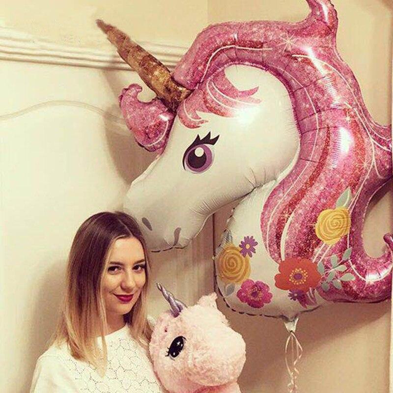 1 pieza decoraciones de fiesta de cumpleaños niños globos de aluminio unicornio fiesta Rosa baloon fiesta suministros boda Baby Shower Arco Iris globos