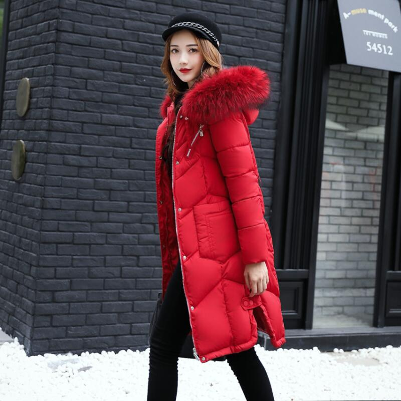 Fashion Snow Wear Large Fur Collar Ladies Coats 2018 Winter Coat Women Parka Long Thick Slim