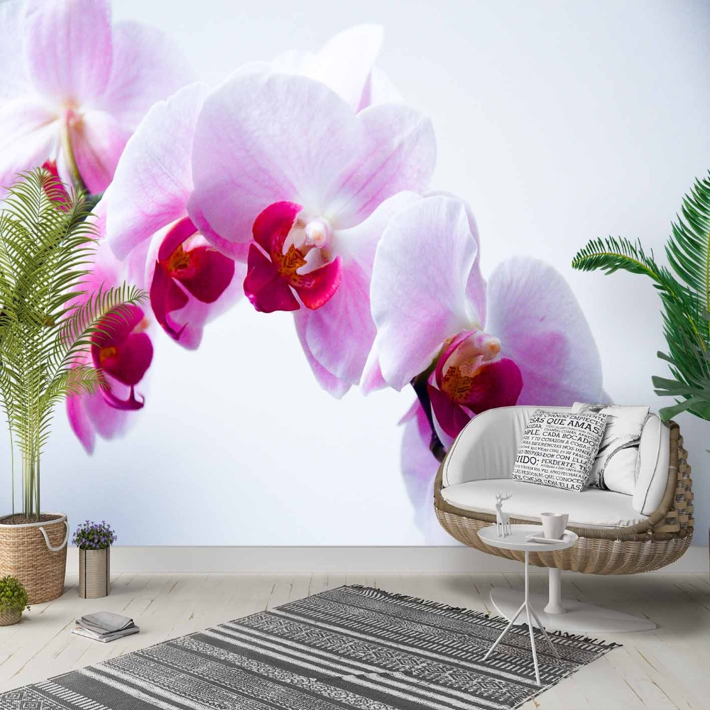 Else White Floor Purple Pink Orchid Flowers 3d Photo Cleanable Fabric Mural Home Decor Living Room Bedroom Background Wallpaper