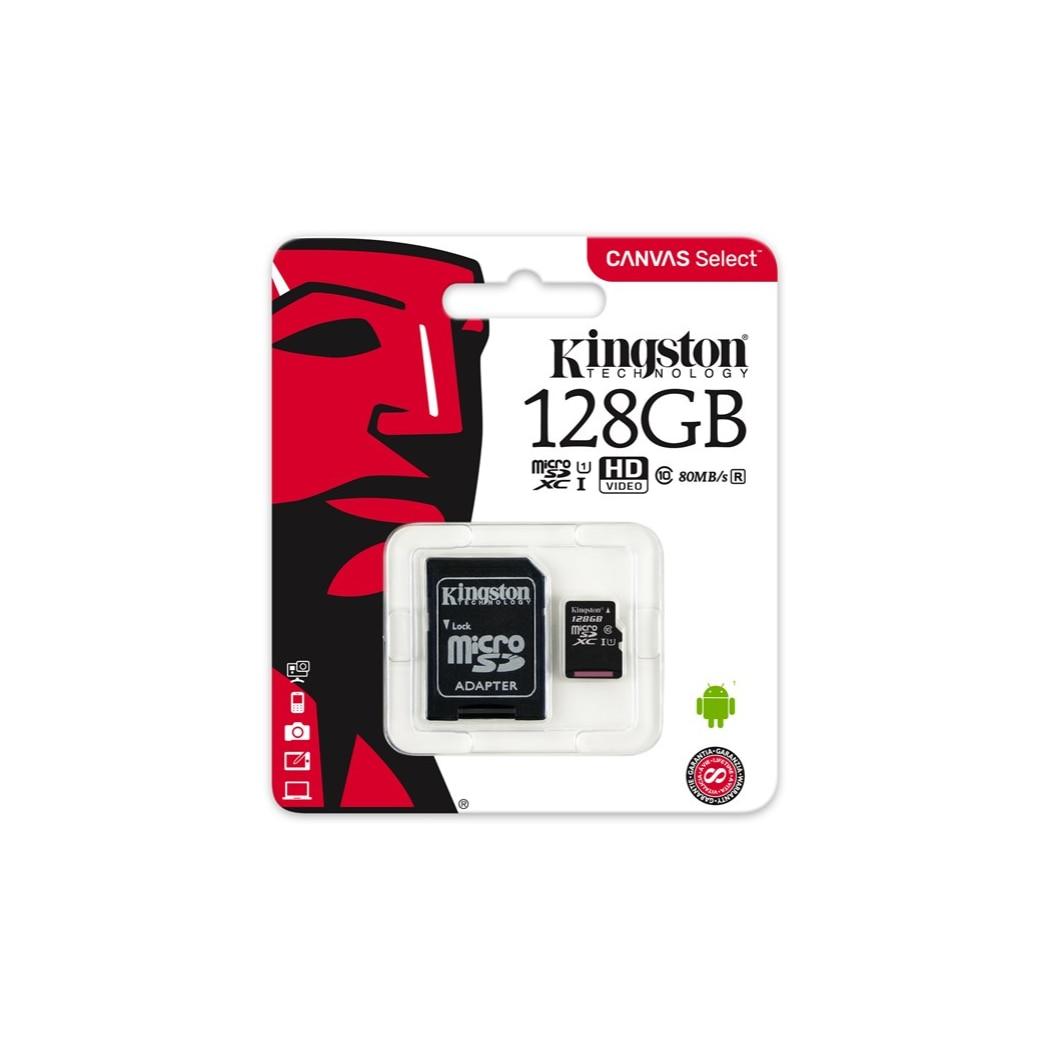 Kingston technology Canvas Select, 128 ГБ, MicroSDXC, Class 10, UHS-I, 80 МБ/с./с, черный