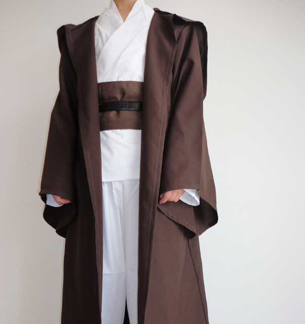 Star Wars Robe Adult Hooded Robe Jedi Kinight Cosplay Black/Brown Cloak Cape Anakin Skywalker Obi- Wan 6 size