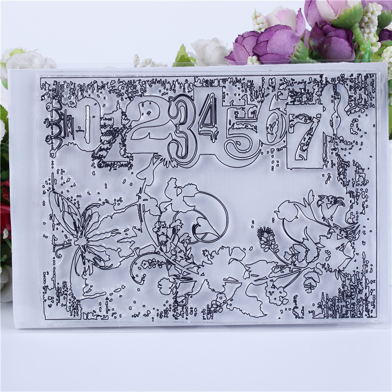 DLKSDIY Floral text Transparent Clear Stamp DIY Silicone Seals Scrapbooking  Card MakingPhoto Album Decoration