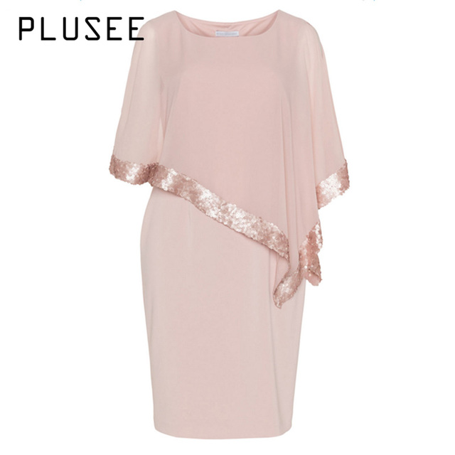 4aafd3ff050 PLUSEE New Women Plus Size Casual Dress Sequined Short Sleeve O Neck Summer Dresses  Pink Vestidos